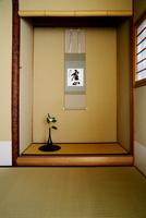 茶室の床の間の一輪挿しと掛け軸