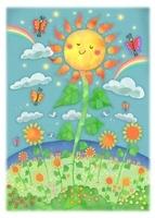 微笑むヒマワリと蝶々 10536000009| 写真素材・ストックフォト・画像・イラスト素材|アマナイメージズ