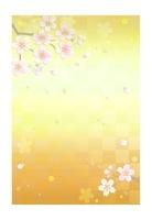 金色の背景と桜の花