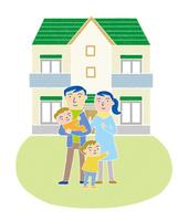 家族とマイホーム 10559000130| 写真素材・ストックフォト・画像・イラスト素材|アマナイメージズ