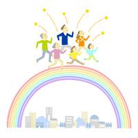 虹を渡る家族