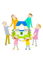 家族の輪で家を囲む