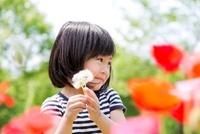 公園の花と女の子