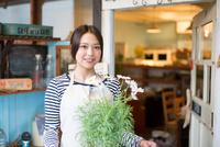 お花の鉢を持っている女性 10568003062| 写真素材・ストックフォト・画像・イラスト素材|アマナイメージズ