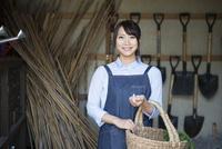 納屋でかごを持っている女性 10568003829| 写真素材・ストックフォト・画像・イラスト素材|アマナイメージズ