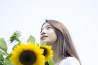 ひまわりと女性 10568005109| 写真素材・ストックフォト・画像・イラスト素材|アマナイメージズ