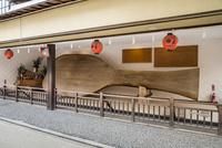 厳島神社表参道商店街に展示された大杓子