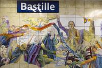 バスティーユ駅、フランス革命の壁画