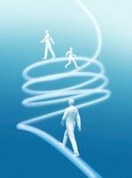 螺旋状の光線を登る3体の人物 CG