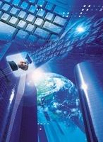 地球とキーボードと握手とビル CG