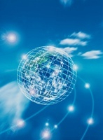 ミラーボール状の地球(青) CG