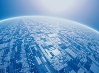 地球表面と未来都市(青) CG                                   10596000094| 写真素材・ストックフォト・画像・イラスト素材|アマナイメージズ