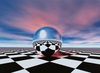 格子模様のフロアと球体 CG