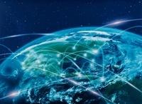 地球北半球に通信光 CG                                       10596000100| 写真素材・ストックフォト・画像・イラスト素材|アマナイメージズ