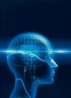 人体の頭脳のイメージ(青) CG