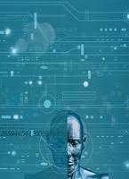 ロボットと回路のイメージ(青) CG