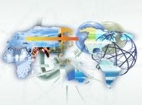 世界地図と球状ネットワーク CG