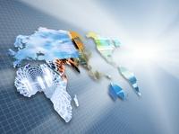方眼紙と世界地図と光 CG