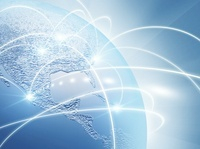 地球と光のネットワーク(水色) CG                             10596000246| 写真素材・ストックフォト・画像・イラスト素材|アマナイメージズ