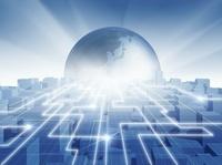 ビル群と光のネットワークと地球(青) CG