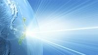 地球と光の放出(水色) CG                                     10596000257| 写真素材・ストックフォト・画像・イラスト素材|アマナイメージズ