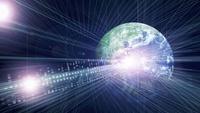 地球と線形と光(青) CG                                       10596000259| 写真素材・ストックフォト・画像・イラスト素材|アマナイメージズ