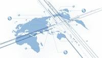 世界地図と球状と線形 CG