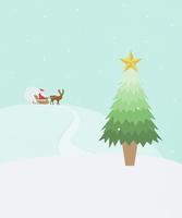 クリスマスツリーとサンタとトナカイ