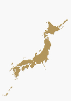 メタリックの日本地図 ゴールド