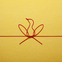 赤い紐でつくった酉のイメージ