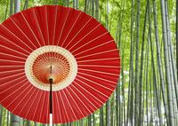 番傘と竹林