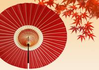 番傘と紅葉