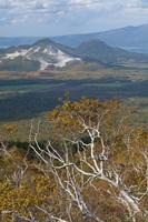 川湯硫黄山とダケカンバ紅葉