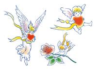 ハートやバラを届ける天使 10653000006| 写真素材・ストックフォト・画像・イラスト素材|アマナイメージズ