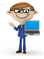 左手でノートPCを持ち 右手でOKサインを出すビジネスマン