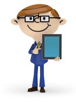 左手でタブレットPCを持ち 右手で画面を指差すビジネスマン