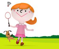 緑の上でバドミントンをする女の子と犬