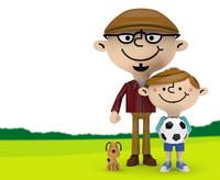 緑の上でサッカーボールを持つ男の子とパパと犬