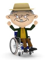 車椅子に乗り お出かけをするシニア男性