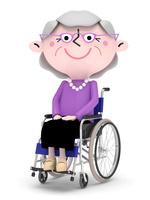 車椅子に乗り お出かけをするシニア女性