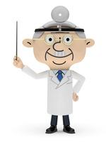 右手で指示棒を持つドクター