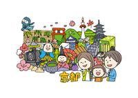 京都観光をする3人家族 10663000007| 写真素材・ストックフォト・画像・イラスト素材|アマナイメージズ