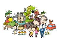 宮崎観光をする3人家族 10663000021| 写真素材・ストックフォト・画像・イラスト素材|アマナイメージズ