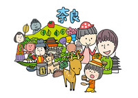 奈良観光をする3人家族 10663000026| 写真素材・ストックフォト・画像・イラスト素材|アマナイメージズ