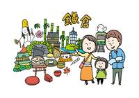 鎌倉観光をする3人家族 10663000030| 写真素材・ストックフォト・画像・イラスト素材|アマナイメージズ