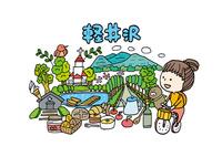 軽井沢観光をする女性1人 10663000031| 写真素材・ストックフォト・画像・イラスト素材|アマナイメージズ