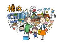 横浜観光をする3人家族 10663000038| 写真素材・ストックフォト・画像・イラスト素材|アマナイメージズ