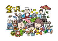 金沢観光をする3人家族 10663000040| 写真素材・ストックフォト・画像・イラスト素材|アマナイメージズ