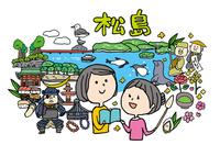 松島観光をする女性2人 10663000041| 写真素材・ストックフォト・画像・イラスト素材|アマナイメージズ
