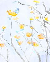 オレンジの花と蝶